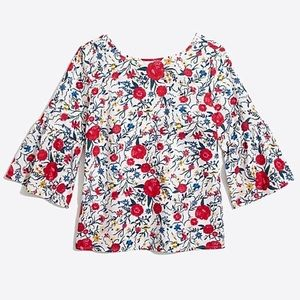 J CREW Floral Bell-sleeve tie-back top